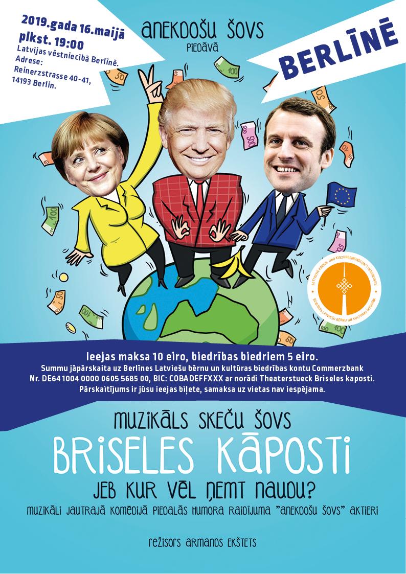 """Anekdošu šovs """"Briseles Kāposti"""" Berlīnē 16. Maijā 2019"""