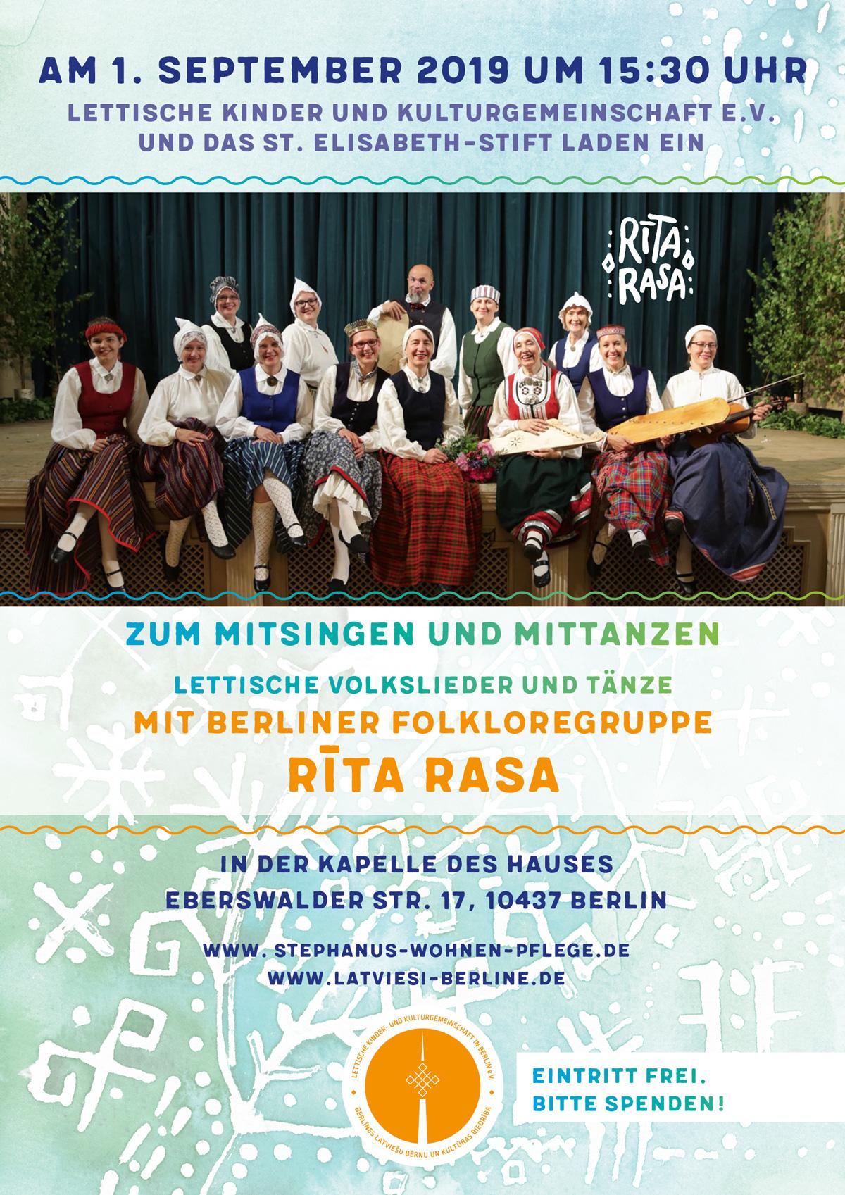 Am 1. September 2019 Um 15:30 Uhr Zum Mitsingen Und Mittanzen Lettische Volkslieder Und Tänze